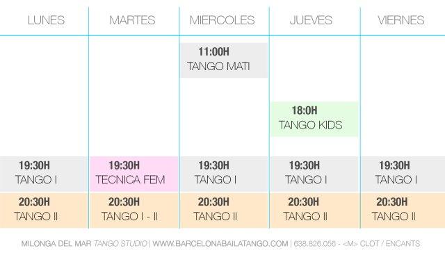 CLASES TANGO BARCELONA HORARIOS