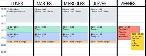 horario clase tango barcelona