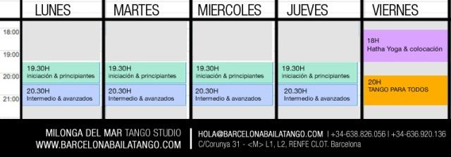 HORARIOS clases tango
