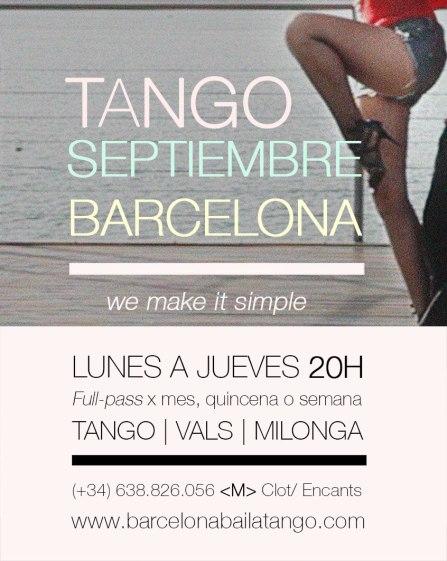 TANGO BARCELONA, CLASES TANGO EN BARCELONA SEPTIEMBRE