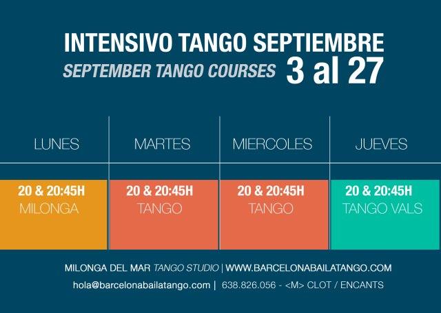 CLASES TANGO BARCELONA SEPTIEMBRE 2018 MILONGA DEL MAR TANGO EN BARCELONA BARCELONA BAILA TANGO CLASES